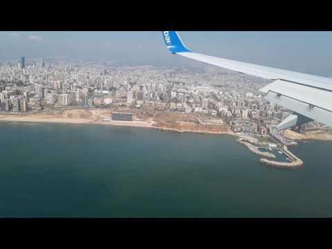 Fly Dubai- Landing in Beirut International Airport, Lebanon