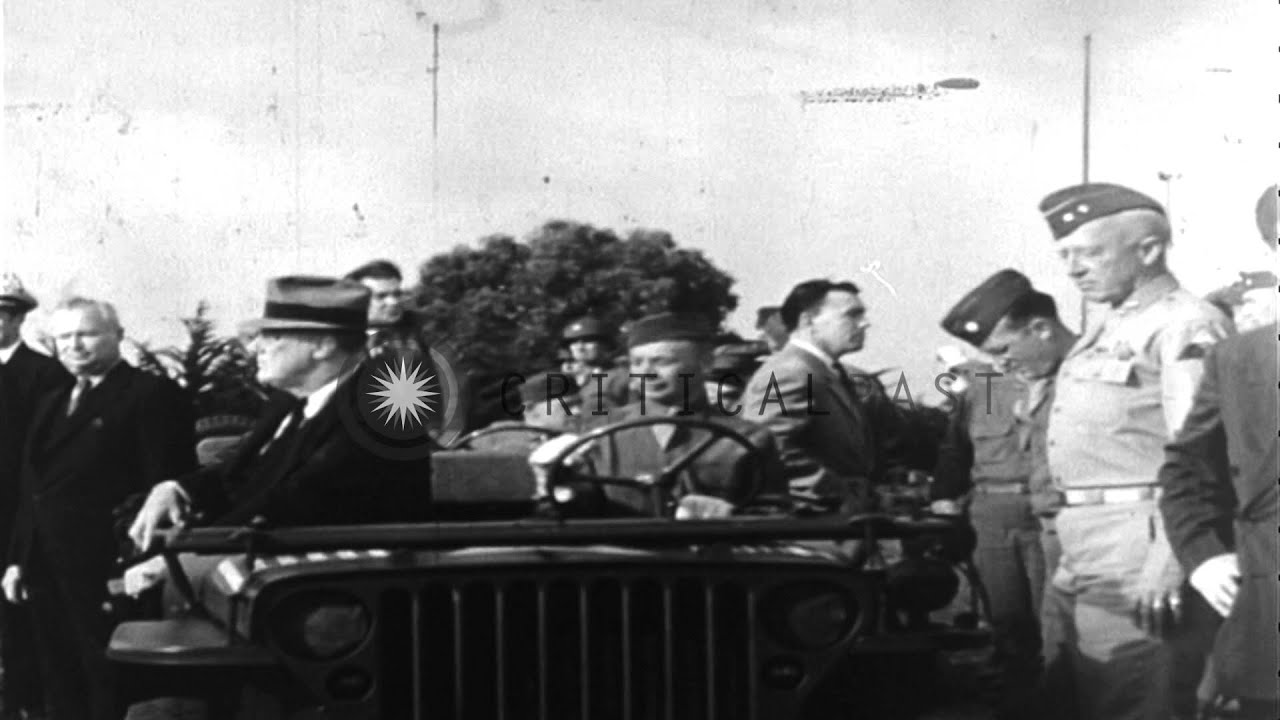 President Franklin Roosevelt in jeep speaks with General Patton in Casablanca, Fr...HD Stock Footage