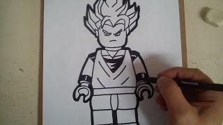"""Como dibujar a goku SSJ  """"lego"""" / how to draw goku """"lego"""""""