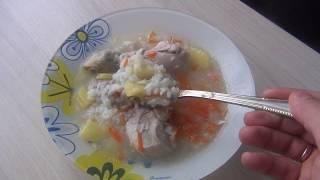 Куриный суп с рисом.