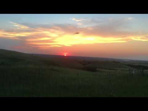 Setting Sun Over the Grasslands of North Dakota