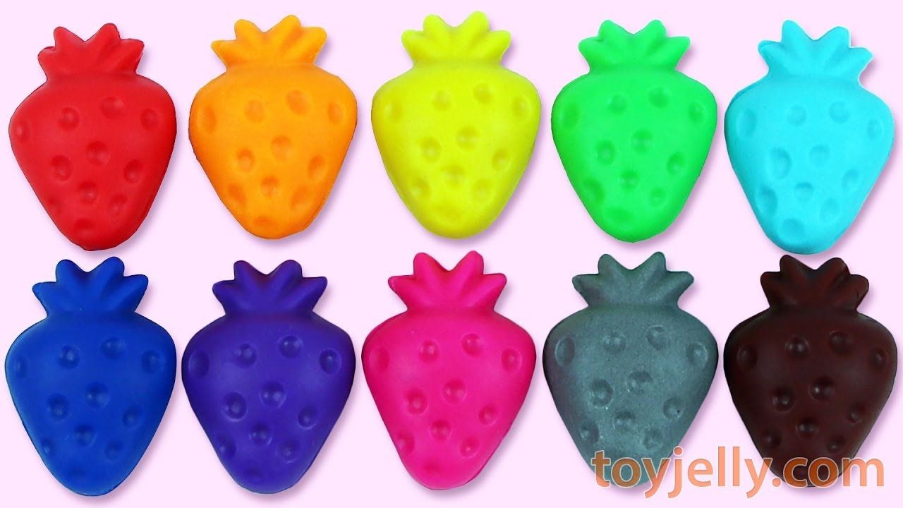 Learn Colors Play Doh Strawberry Molds Peppa Pig Surprise Toys