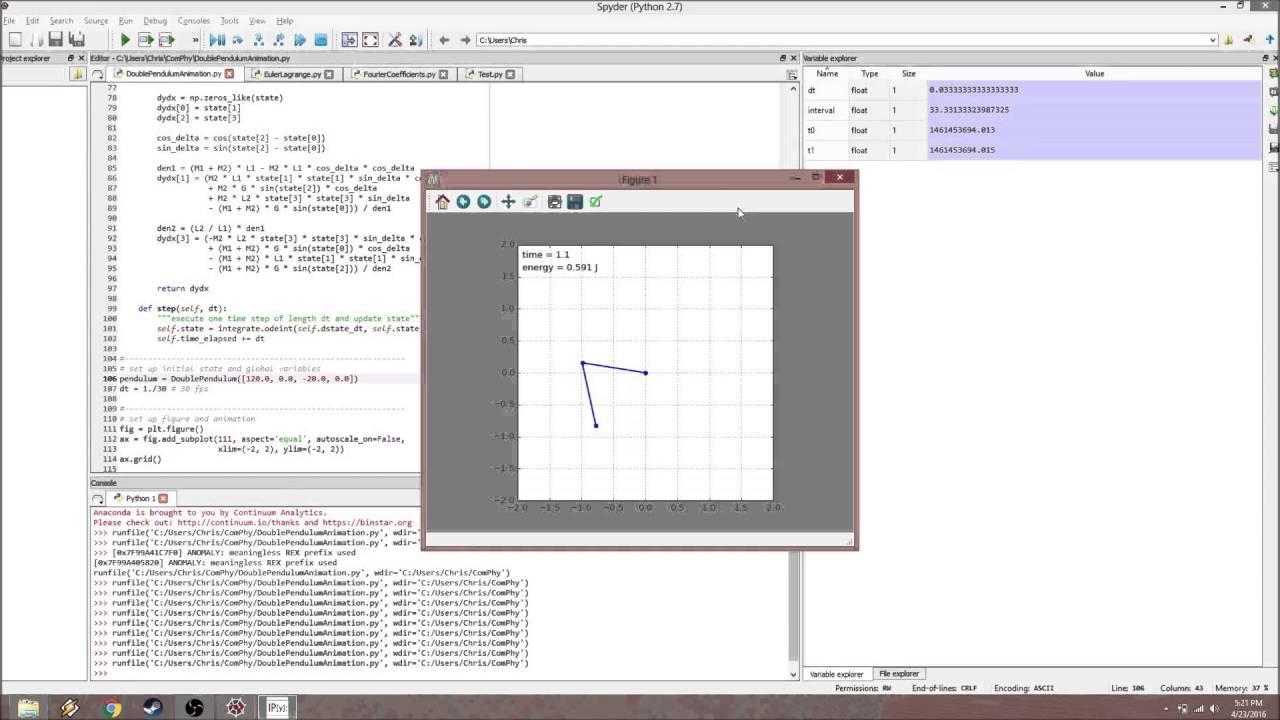 Double Pendulum Python Simulation