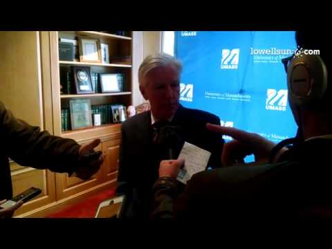 Marty Meehan, the new UMass president, meets with reporters Friday.