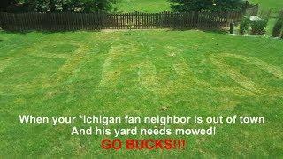 Ohio State Fan Mows Script Ohio Into Michigan Fan