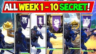 ALL SECRET BATTLE STAR & BANNERS LOCATIONS WEEK 1 to 10 - Fortnite Season 7 (Fortnite Battle Royale)