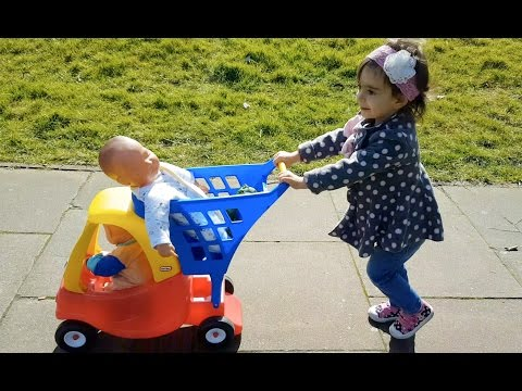 Playing in the Park with Baby Dolls /Outdoor Playground / Trolley Cart