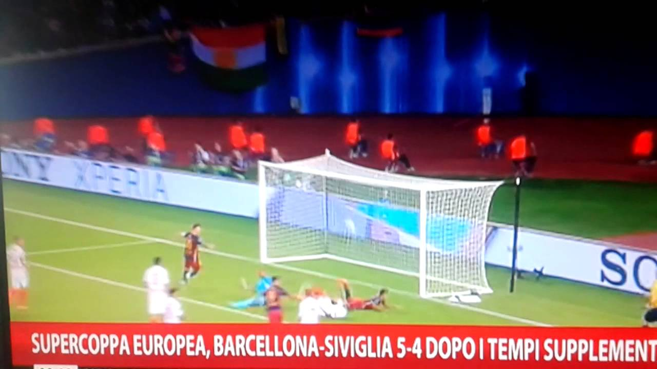 SUPERCOPPA EUROPEA BARCELLONA-SIVIGLIA 5-4 SINTESI - YouTube