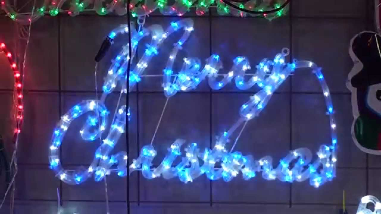 christmas lighting show displayblue white merry christmas sign rope light animation motif