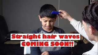 Starting little brother on 360 straight hair waves!! 🌊