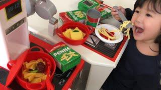 パスタセットのおもちゃでおみせやさんごっこ!おままごと Kids Play Shop and Pasta Set Toy