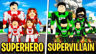 SUPERHERO FAMILY vs SUPERVILLAIN FAMILY in Roblox BROOKHAVEN RP!!