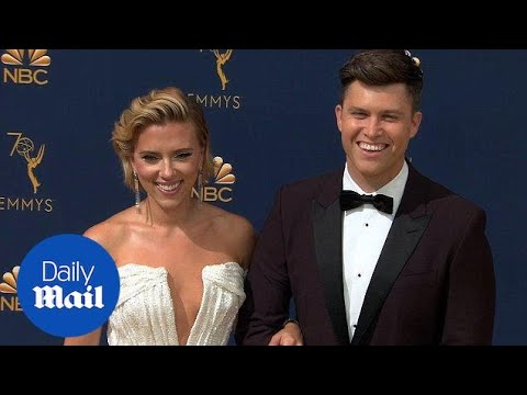 Scarlett Johansson and Emmy host Colin Jost on red carpet
