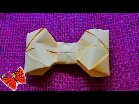 Как сделать галстук-бабочку или бантик из бумаги DIY. Подарок на 9 мая!