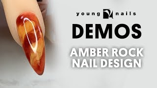 Young Nails Nail Demo - Amber Rock Nail Design - Synergy Gel/Hard Gel
