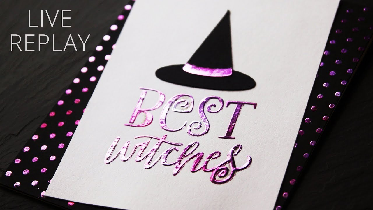 Halloween Card Making Ideas : Deco Foil Transfer Gel Stencil Technique -  Live Replay