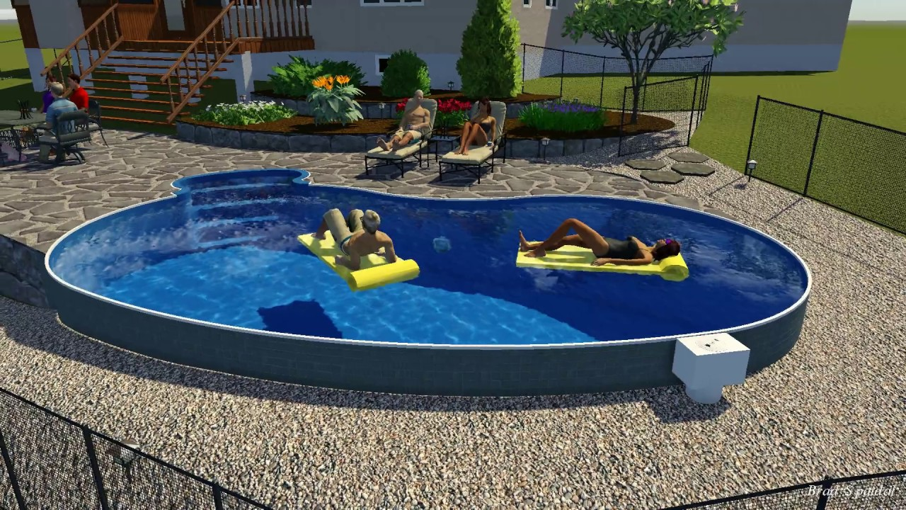 14 x 28 Kidney Semi Inground Pool by Rideau Pools Ottawa - YouTube