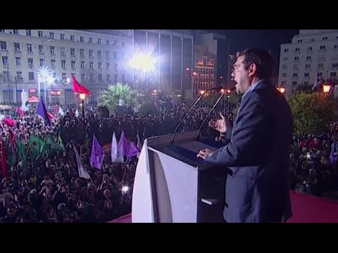 Syriza supporters celebrate, leader Tsipras addresses crowd as party leads in Greek election