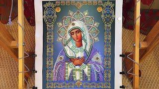 Икона Божией матери Умиление. Готовая работа. Картины бисером. Вышивка бисером.