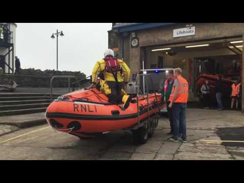 Porthcawl RNLI Lifeboats launching on service