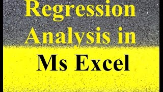 Linear Regression Analysis in Microsoft Excel 2017