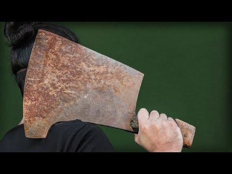 Insanely Big Butcher Cleaver Restoration. SORT OF...