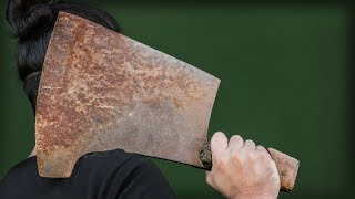 Insanely Big Butcher Cleaver Restoration. SORT OF...