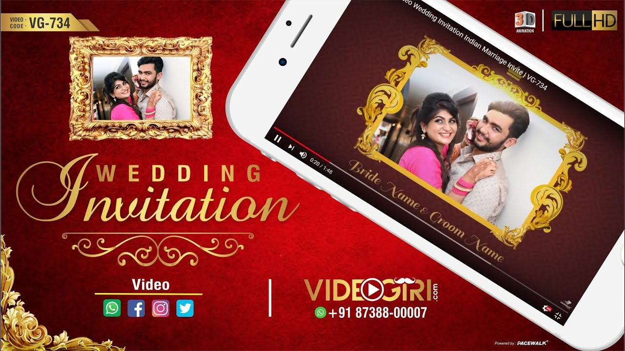 Whatsapp Video Wedding Invitation Indian Marriage Invite | VG-734 ...