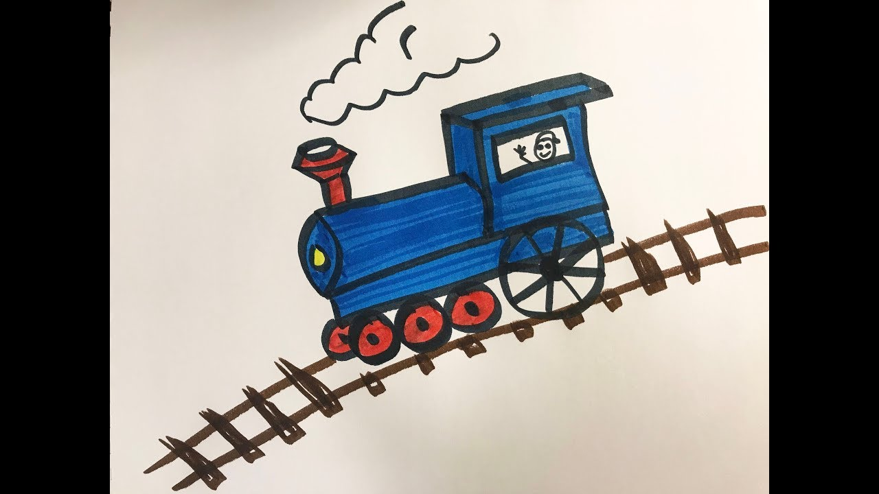 How to draw and color a Train -for kids!