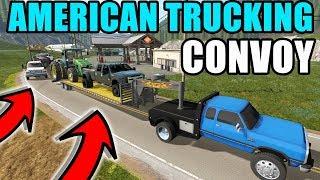 Farming Simulator 2017 American Trucking Convoy Hauling Through Steep Mountains Live