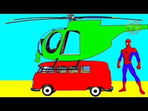 Divertidos tractores y video de aprendizaje de colores para niños helicópteros en autobús