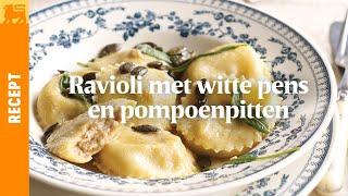 Ravioli met witte pens en geroosterde pompoenpitten