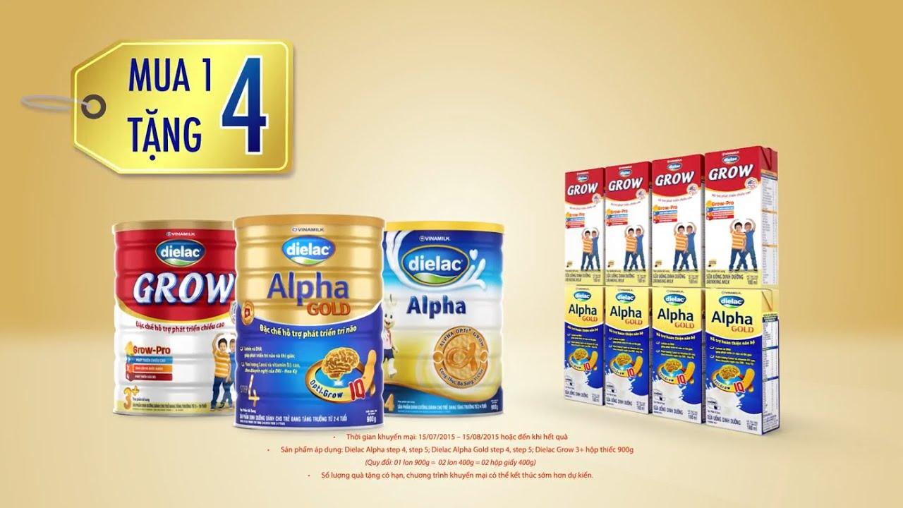 Quảng cáo sữa Vinamilk – Dielac Alpha Gold – Sữa bột pha sẵn Dielac Alpha Gold (mua 01 tặng 04)