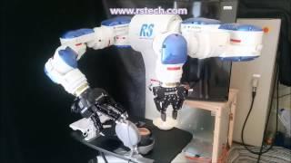 Yaskawa Motoman Dual Arm Robot cooking an Egg Sandwich