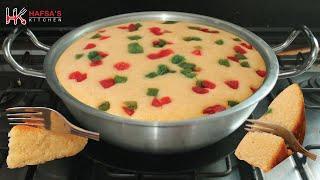 Eggless Suji Cake In Kadai | Semolina Cake Eggless u0026 Without Oven | Rava Cake