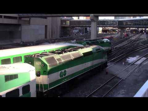 Commuter Trains (GO Transit / VIA Rail) at Union Station Toronto at rush hour March 19 2015