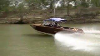 Echuca jan 2016- our Glen L Bonanza wooden boat in action on the murray.