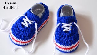 Пинетки кроссовки крючком. Видео и схема. Booties sneakers crochet