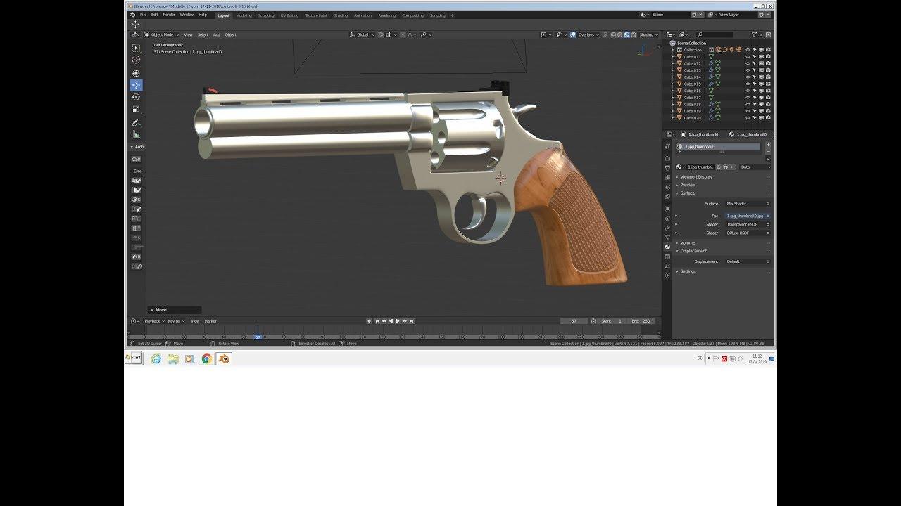 blender 2.8 model a 3D gun part7 - YouTube