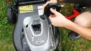 Štartovanie kosačky pomocou AKU vrtačky / Starting the mower using a power drill