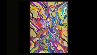 Fluid acrylics small ribbon poured ,gold primed canvas #3533-9.30.18