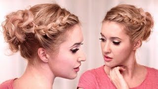 Curly updo hairstyle tutorial ❤ Knotted braid for medium long hair