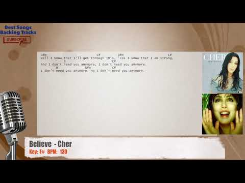 Believe Cher Vocal Backing Track With Chords And Lyrics Youtube