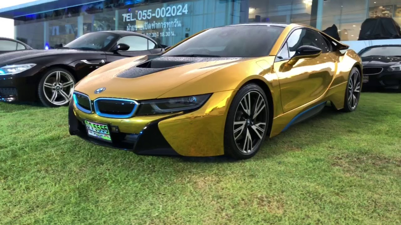 Bmw I8 Gold >> BMW I8 gold wrapped in Thailand - YouTube