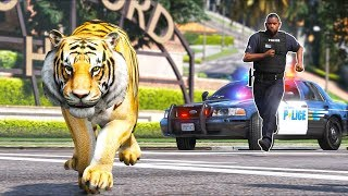 Tiger escapes from the Zoo... Cops give chase!! (GTA 5 Mods - Evade Gameplay)