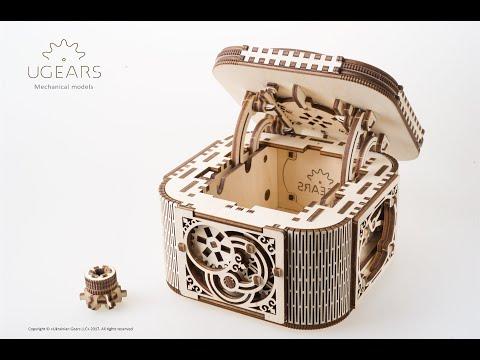 Ugears Treasure Box - Assembly Video | Construction Set DIY Kit | Handmade Gifts | Proposal Box