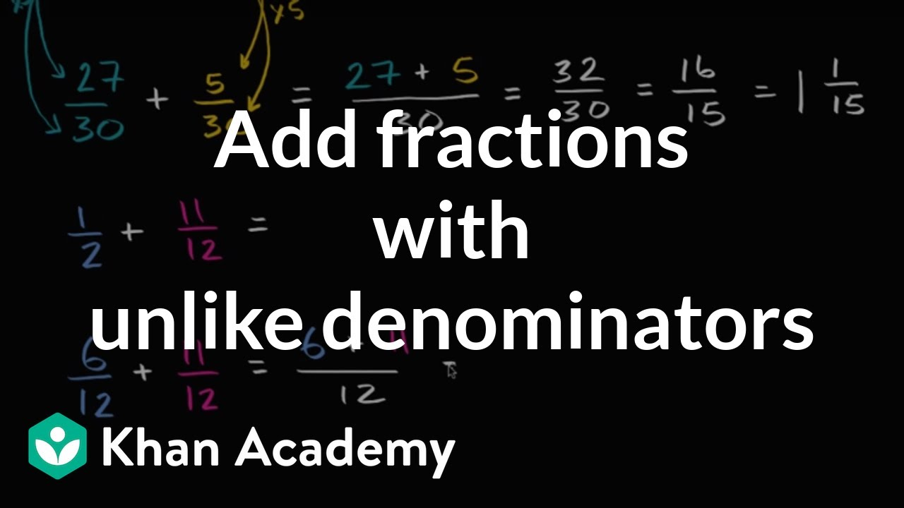 Adding Fractions With Unlike Denominators Video Khan Academy