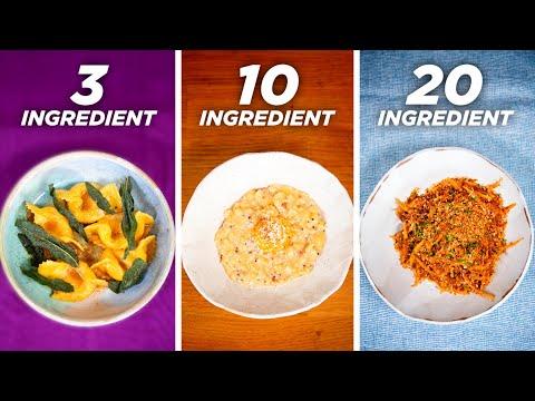 3-Ingredient vs. 10-Ingredient vs. 20-Ingredient Pasta •Tasty