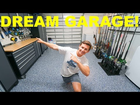 My DREAM Garage! NEW Age Cabinets, Epoxy Floor, Lighting, Rod Storage (Complete Remodel & Makeover)