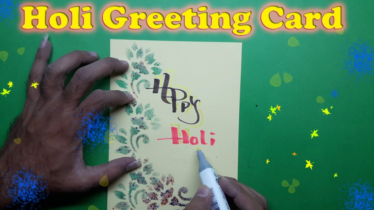 Card Making Ideas For Holi Part - 34: How To Make A Holi Greeting Card || Craft Idea || DIY Projects For School  || Card Design